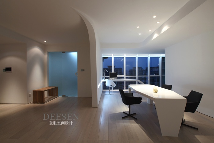 Office Wing White With Down Lighting And View Interior
