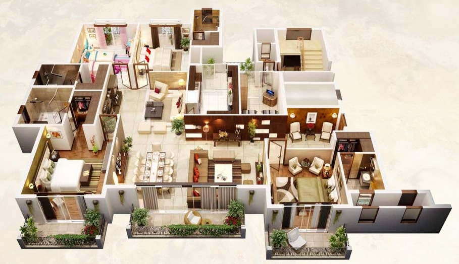Bed Layout Apartment 3d 1