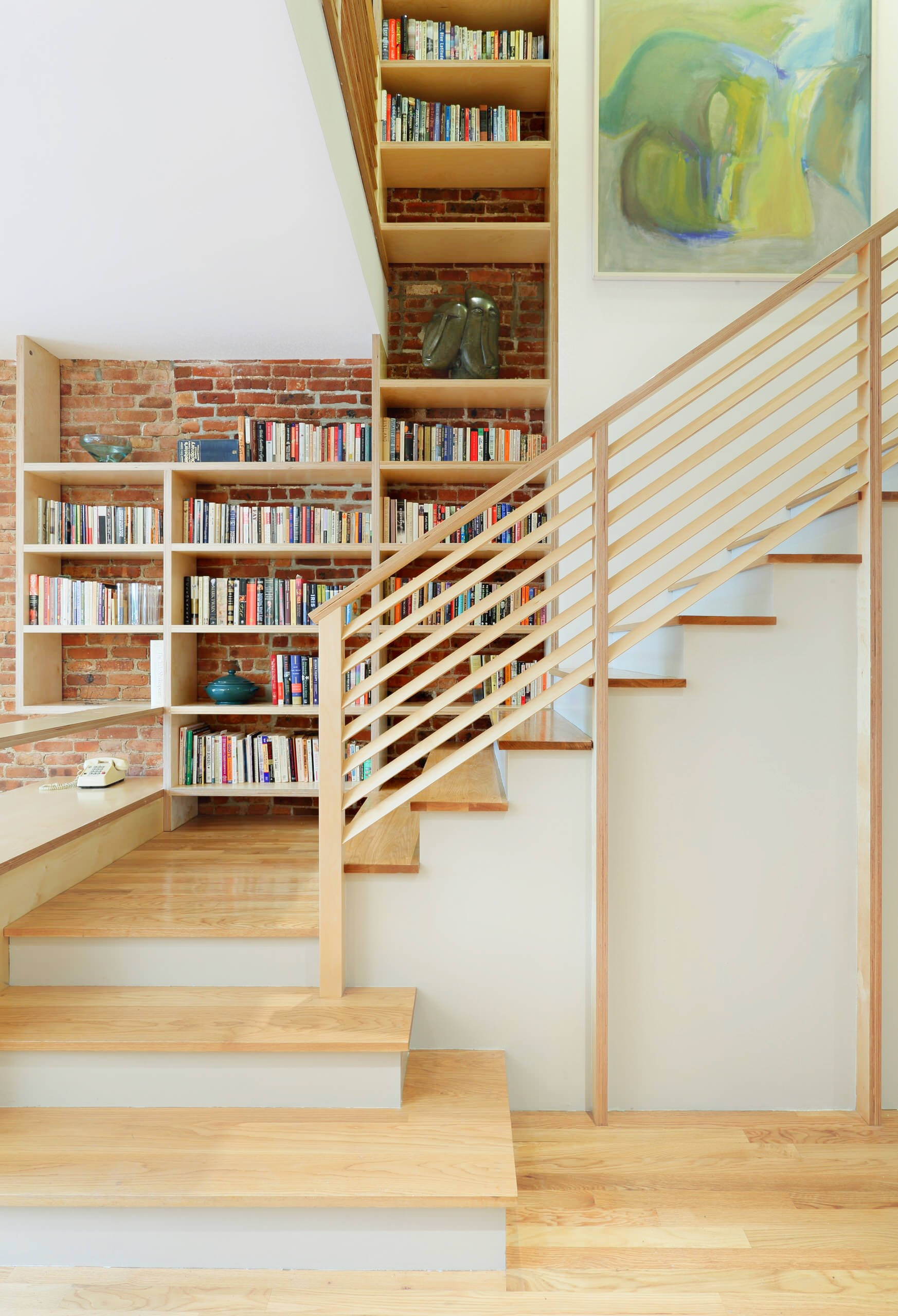 50 Creative Ways To Incorporate Book Storage In Around Stairs   Wooden Stair Railings Indoor   Stain White   House   Wooden Balustrade   Custom   Modern