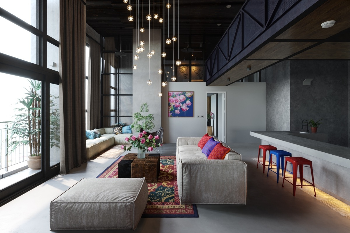 50 Modern Living Rooms That Act As Your Home S Centrepiece   Sala Design With Stairs   Front   Showcase   Basement   Siri Ghar   Room Separation