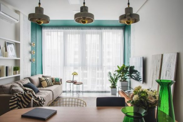 Green and Gold Interior With Modern Eclectic Vibe  Includes Floor     This green and gold colour journey starts with a decidedly aqua blue green  tone  A section of wall and ceiling around the floor to ceiling windows is of  a