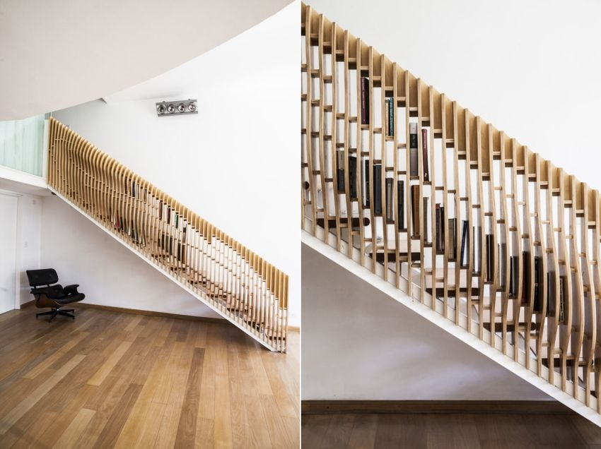Vg Studio Designs Staircase Handrail That Can Store Books | Designer Handrails For Stairs | Wood | Wrought Iron Balusters | Railing Ideas | Interior | Stair Parts