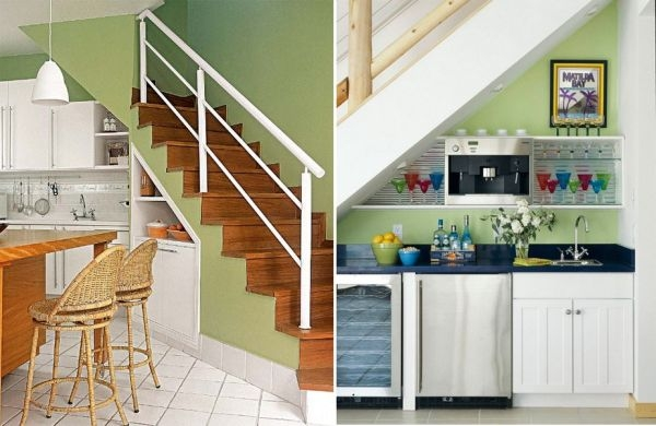 60 Under Stairs Storage Ideas For Small Spaces Making Your House | Kitchen Under Stairs Design | Stair Case | Wet Bar | Basement Stairs | Living Room | Basement Kitchenette
