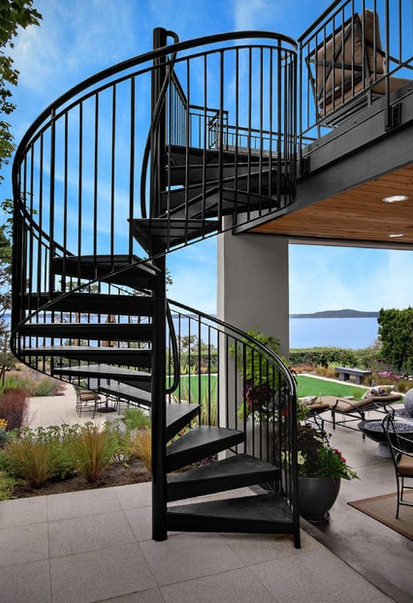 What You Need To Know About Spiral Staircases | Exterior Metal Spiral Staircase | Rustic Metal | Deck | Crystal Handrail | Bar Modern | Railing