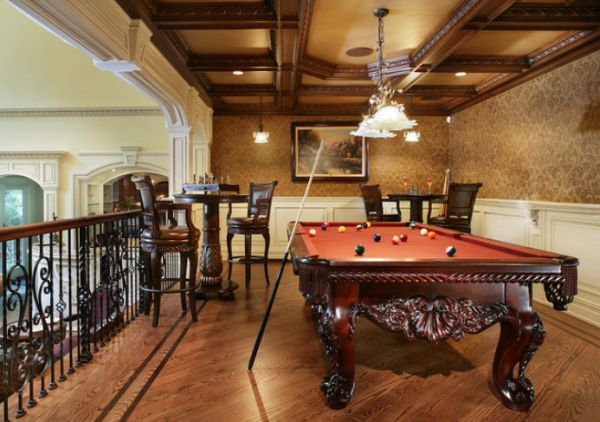 A few decor ideas and suggestions for your billiards room View in gallery Dramatic billiards room featuring an elegant chandelier and  rich wooden features View