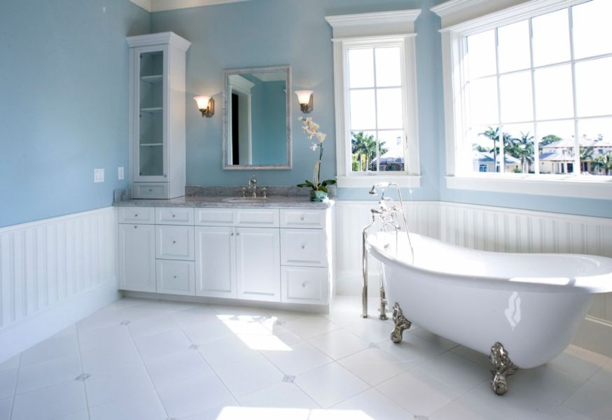 30 Bathroom Color Schemes You Never Knew You Wanted Pale blue and white  View in gallery