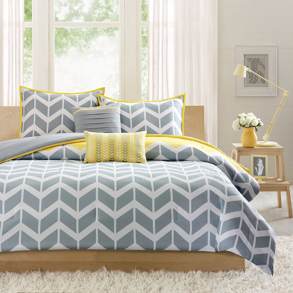 Yellow and Gray Bedding That Will Make Your Bedroom Pop Young Chevron   grey and yellow bedding