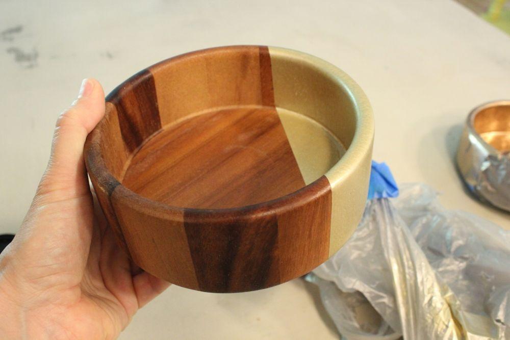 Diy Metallic Accented Wooden Bowls