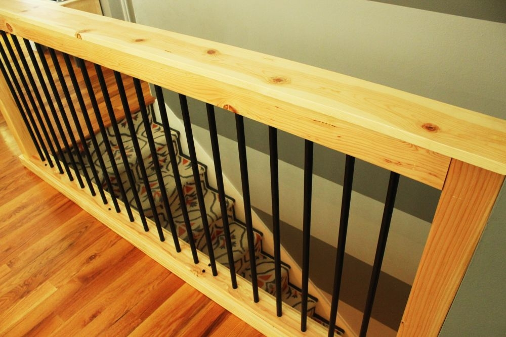 Diy Stair Handrail With Industrial Pipes And Wood   Pre Made Stair Railings   Porch   Pressure Treated   Stair Treads   Aluminum Railing   Stair Stringers