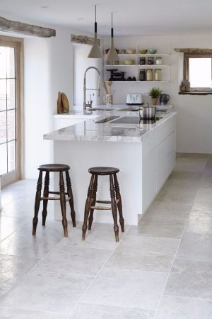 18 Beautiful Examples of Kitchen Floor Tile 15  Brushed Limestone