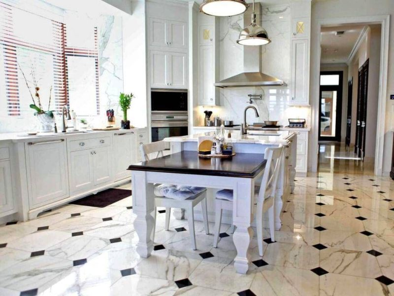 18 Beautiful Examples of Kitchen Floor Tile 3  Marble Pattern