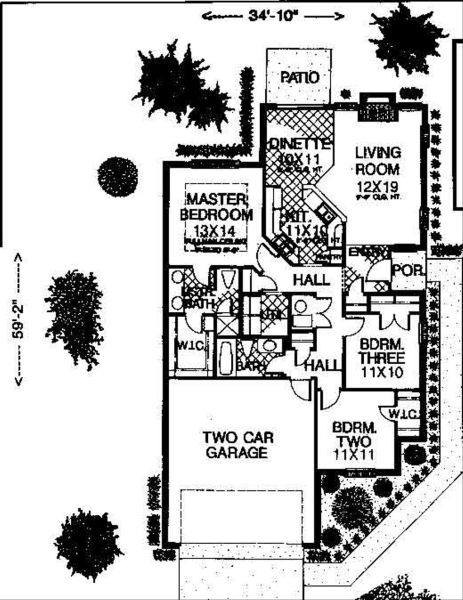 Colonial Style House Plan   3 Beds 2 Baths 1130 Sq Ft Plan  310 747     Colonial Floor Plan   Main Floor Plan Plan  310 747