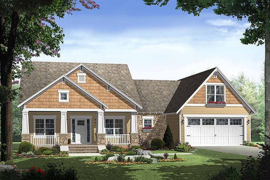 Craftsman Style House Plan   3 Beds 2 Baths 1800 Sq Ft Plan  21 247     Craftsman style home  elevation