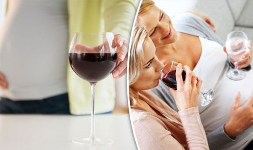 Pregnant  It s okay to drink two glasses of wine a week says study     Pregnant woman with wine