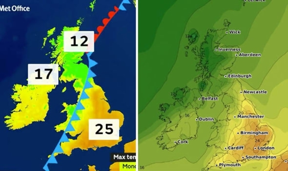 UK weather forecast  What is the weather forecast for September and     UK weather forecast  map