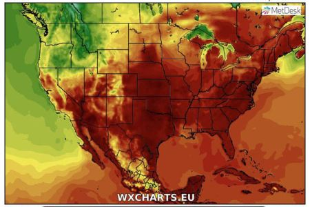 USA heatwave  When will New York heatwave end   Latest weather     USA heatwave  Temperature maps