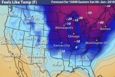 Us weather map next 5 days How cold is it in the USA right now Weather map shows big freeze