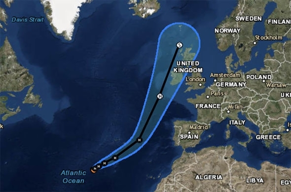 Hurricane Ophelia path  Where will Ophelia hit the UK  Track  maps     Hurricane Ophelia weather map