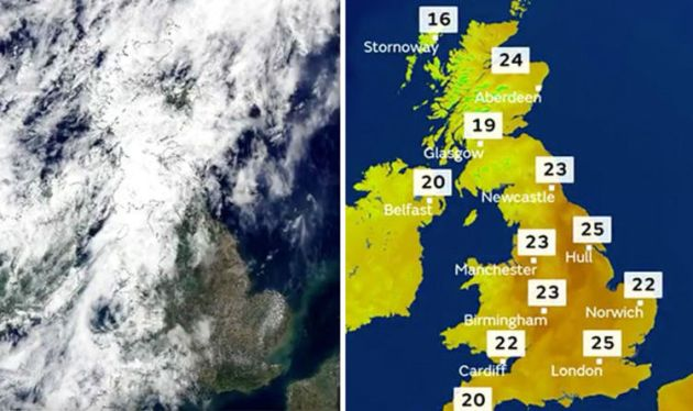 UK Weather forecast  SHOCK Met Office chart shows HEAT engulf     UK forecast  Bizarre weather sees HEATWAVE and close to FREEZING  temperatures in 24 hours