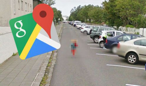 Google Maps Street View  Little girl captured on hilarious mission     Google Maps Street View