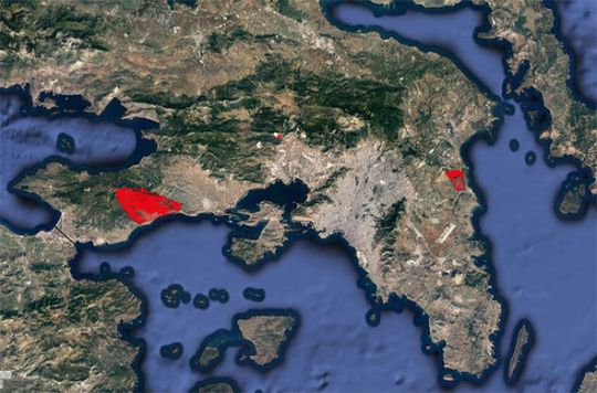 Greece fires MAP  Where are the wildfires in Greece MAPPED   60 dead     Wildfire map greece
