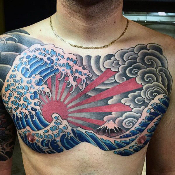 Chest Sun Clouds And Rising Tattoo