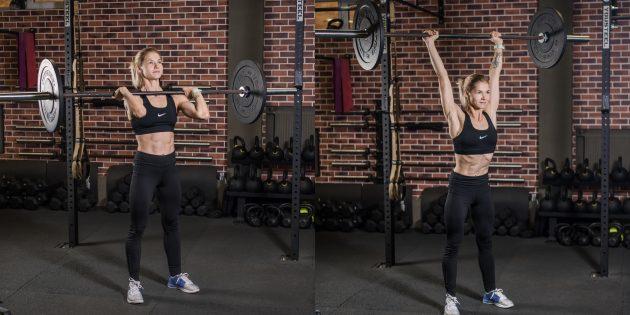Gyakorlatok a vállakon: súlyzók állva állnak