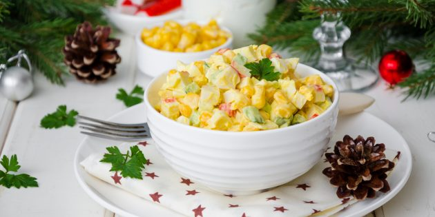 Salad with crab chopsticks, corn and eggs