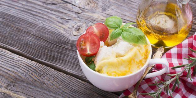 Omelet با ژامبون و پنیر در مایکروویو