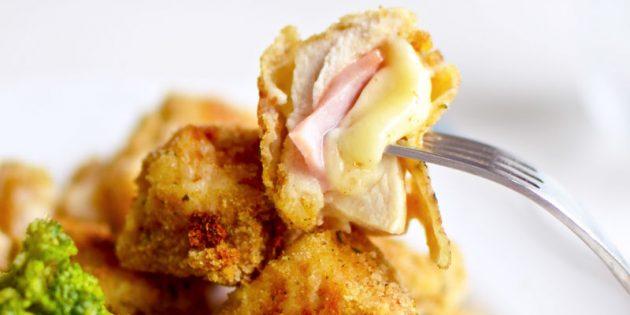 Kuřecí nugety se šunkou a sýrem