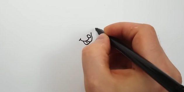 오른쪽 개요 코 에이 행을 이전 하나와 연결하고 그 사이에 언어를 그립니다.