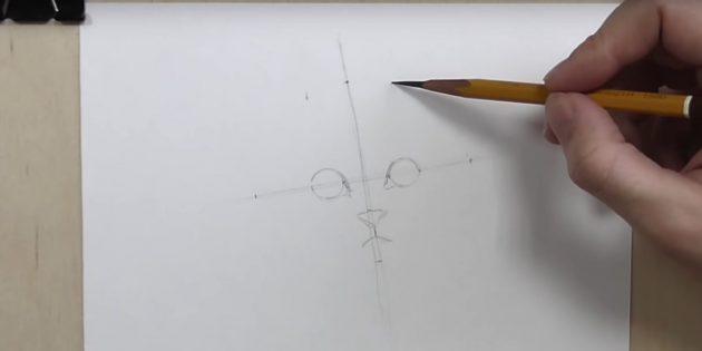 Көздің ортасы арасындағы алшақтықты және олардан бірдей қашықтықта көлденең сызық бойынша нүктеге қойыңыз