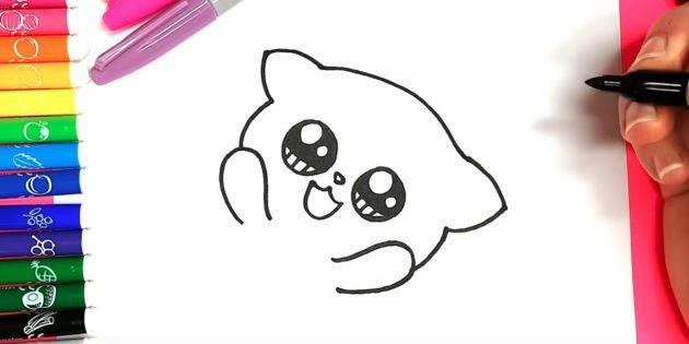 Como desenhar um anime de gato: à esquerda e à direita debaixo dos olhos, pegue os contornos das patas, e de cima - cabeças e orelhas