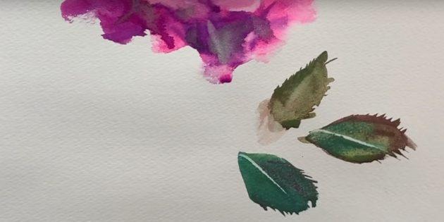 Добавьте в нижней части цветка немного зелени и нарисуйте листья