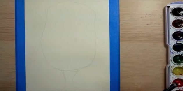 Наметьте очертания бутона и стебля