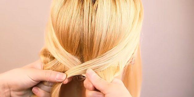 چنگ زدن به رشته در طرف دیگر و اتصال آن با بخش مخالف. موهای خود را سفت کنید