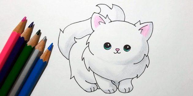 Hvordan man tegner en stående kat i en tegneserie stil