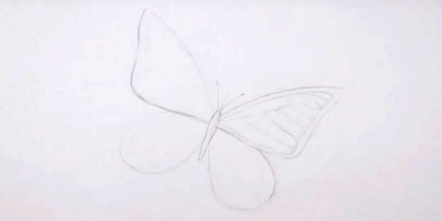 Изобразите узор на верхнем крыле справа