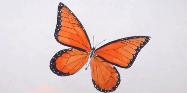 Обведите туловище бабочки и разнообразьте узор на крыльях