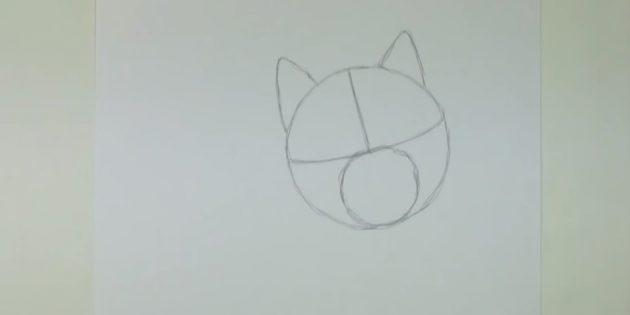Desenhe o círculo menor e pegue as orelhas