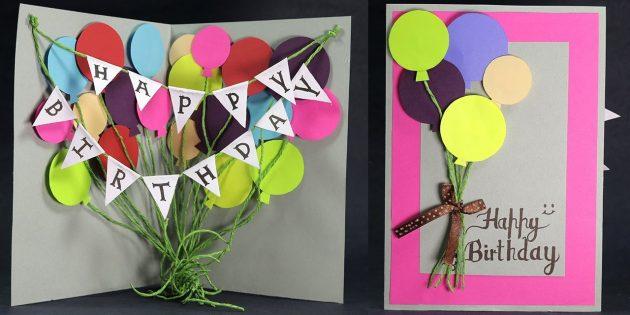 Làm thế nào để tạo bưu thiếp với những quả bóng cho sinh nhật bằng tay của riêng bạn