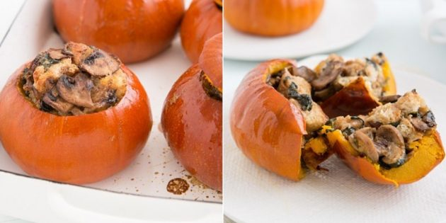 Kürbis im Backofen, gefüllt mit Pilzen, Spinat, Käse und Sahne