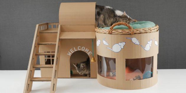 Como fazer uma casa de dois andares para um gato fora das caixas faz você mesmo