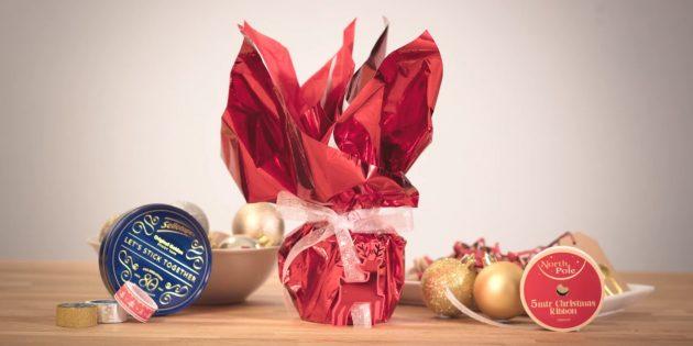 Как упаковать подарок любой формы в мешочек из бумаги