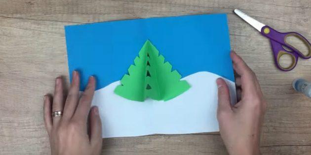 Жаңа жылдық ашықхаттар мұны өзіңіз жасайды: шыршаны жабыстырыңыз