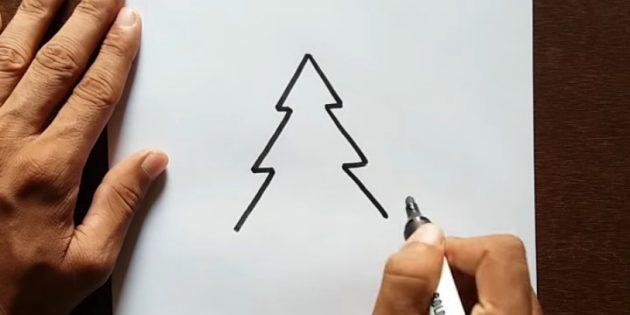 크리스마스 트리를 그리는 방법 : 세 번째 계층 추가
