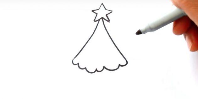 크리스마스 트리를 그리는 방법 : 연결 라인을 연결하십시오