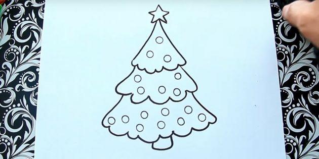 크리스마스 트리를 그리는 방법 : 공을 추가하십시오