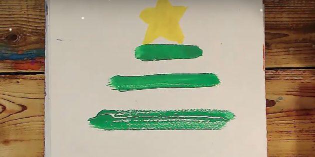크리스마스 트리를 그리는 방법 : 두 개의 스트립을 추가하십시오.