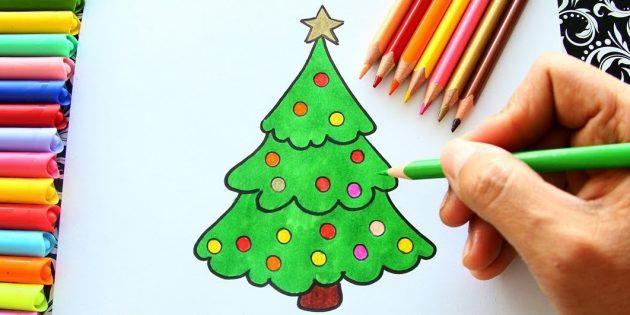 푹신한 크리스마스 트리를 연필이나 펠트 팁으로 그리는 법